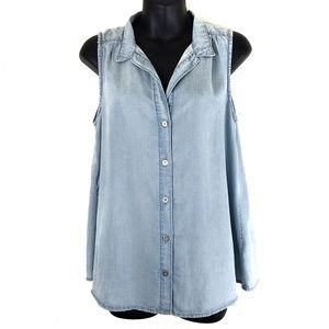 Anthropologie Cloth & Stone Chambray split back sm